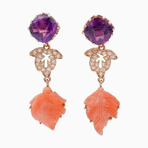 Handcrafted Dangle Earrings with Diamonds, Amethysts, Coral & 14 Karat Rose Gold, Set of 2