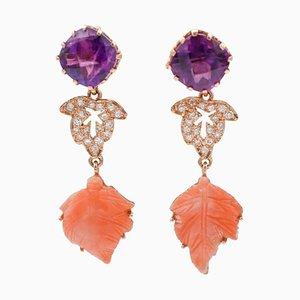 Orecchini pendenti fatti a mano con diamanti, ametiste, corallo e oro rosa 14 carati, set di 2