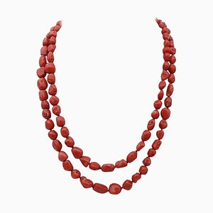 Multi-Strand Necklace with Coral, Garnets, Diamonds, 9 Karat Rose Gold and Silver Clasp