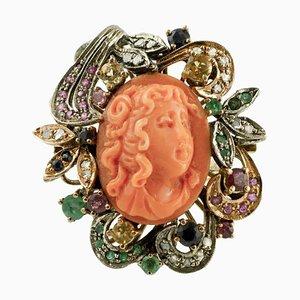 Roségold & Silber Ring mit Gravierter Koralle, Diamanten, Rubinen, Smaragden & Saphiren