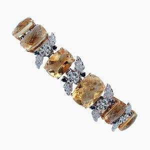 Yellow Topaz, Blue Sapphire, Diamond & 14 Karat White Gold Bracelet