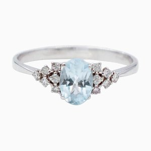 Aquamarine, White Diamonds and 18 Karat White Gold Ring