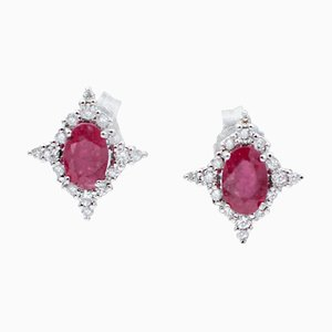 18 Karat White Gold Star Stud Earrings with Rubies & White Diamonds, Set of 2