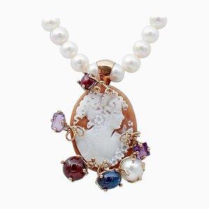 Collier à pendentif camée en améthyste, grenat, pierre et perle en or rose 9 kt et argent