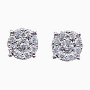 White Diamond & 18 Karat White Gold Magic Stud Earrings, Set of 2