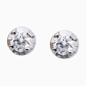 Aretes de oro blanco de 18 kt y diamantes blancos. Juego de 2