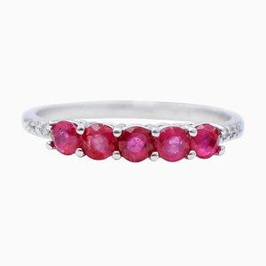Diamonds, Rubies and 18 Karat White Gold Ring