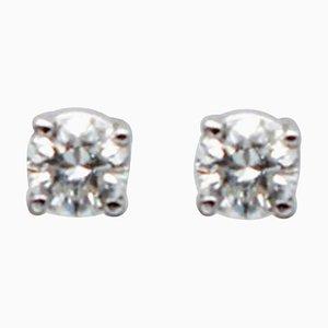 0.25 Carat White Diamond & 18 Karat White Gold Stud Earrings, Set of 2