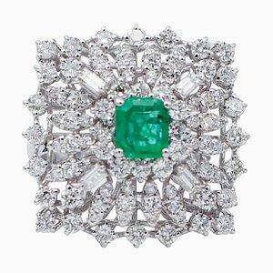 Bague Emeraude Centrale, Diamant et Or Blanc 18 Carat