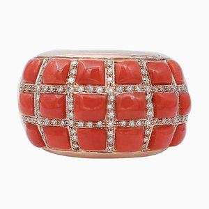 Coral, Diamond & 14 Karat Rose Gold Band Ring