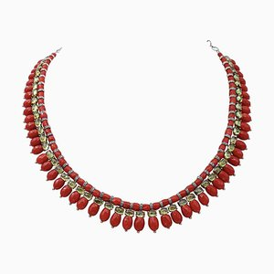 Coral, Diamond, 9 Karat Rose Gold and Silver Necklace