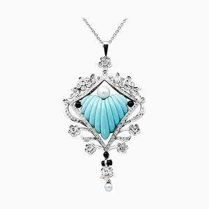 Pendentif Diamant, Perle, Onyx, Turquoise, Or Blanc 18 Carat et Platine