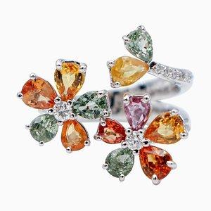 Mehrfarbiger Blumenring aus Saphiren, Diamanten und 18 Karat Weißgold