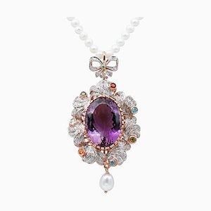 Collier à pendentif perle, diamant, améthyste, topaze, péridot, grenat et tsavorite
