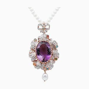 Halskette mit Perlen, Diamanten, Amethyst, Topas, Peridot, Granat & Tsavorit