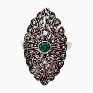 Emerald, Diamonds, 14 Karat Rose Gold and Silver Ring
