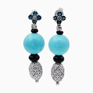 Diamonds, Sapphires, Onyx and 14 Karat White Gold Dangle Earrings, Set of 2