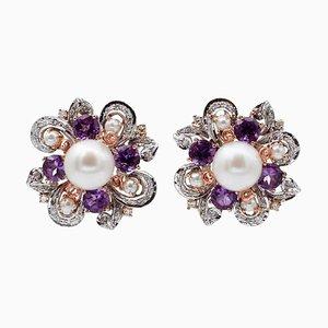 Weiße Perlen, Diamanten, Hydrothermische Amethyste, 14 Karat Weiß- und Roségold Ohrringe, 2er Set