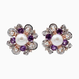 White Pearls, Diamonds, Hydrothermal Amethysts, 14K White and Rose Gold Earrings, Set of 2