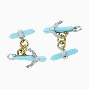 Gemelli con diamante, turchese e 14 carati in oro bianco e giallo