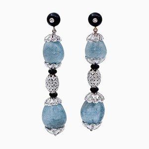Aquamarine, Diamonds, Onyx, 14 Karat White Gold Dangle Earrings, Set of Nan