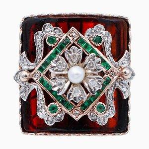 Emerald, Diamond, Stone, Pearl, 9 Karat Rose Gold and Silver Ring