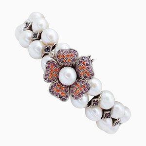 Bracelet en Perles Blanches, Rubis, Pierres Colorées, Or Rose 9 Carats et Argent