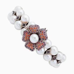 White Pearl, Ruby, Colored Stone, 9 Karat Rose Gold and Silver Bracelet