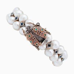 Saphir, Smaragd, Diamant, Perle, 9kt Roségold und Silber Armband