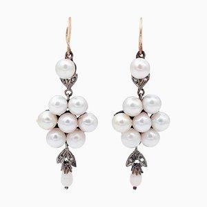 Boucles d'Oreilles Perles, Diamants, Or Rose 14 Carats et Argent, Set de 2