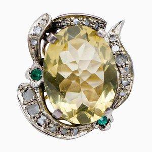 Topaz, Emeralds, Diamonds, 9 Karat Rose Gold and Silver Cluster Ring