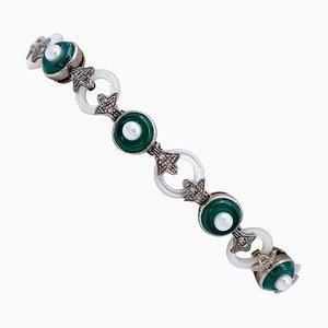 Bracelet Diamant, Agate Verte, Perle, Pierre Blanche, Or Rose 9kt et Argent