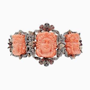 Bracelet en Corail, Diamant, Rubis, Pierre de Couleur, Or Rose 9 Carats et Argent
