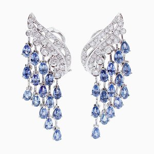 Boucles d'Oreilles Saphirs Bleus, Diamants et Or Blanc 14 Carats, Set de 2