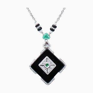 Diamonds, Emeralds, Onyx, Pearls, 14 Karat White Gold Necklace