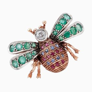 Diamond, Emerald, Sapphire, Ruby, 9 Karat Rose Gold and Silver Fly Ring