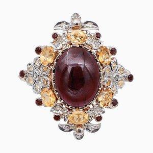 Granat, Topas, Diamant, 9 Karat Roségold und Silber Cocktail Ring