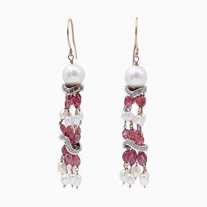 14 Karat Rosé- und Weißgold Ohrringe mit Diamanten, Steinen & Perlen, 2er Set