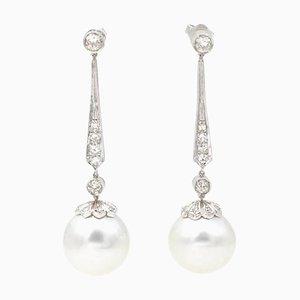 Boucles d'Oreilles en Platine, Diamants et Perles, Set de 2