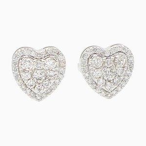 White Diamond & 18K White Gold Heart Stud Earrings, Set of 2