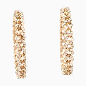 White Diamond & 18K Rose Gold Hoop Earrings, Set of 2
