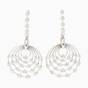 White Diamonds and 18K White Gold Hoop/Dangle Earrings, Set of 2