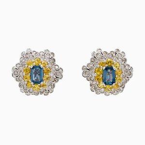 Boucles d'Oreilles Diamants, Saphirs Jaunes et Bleus et Or Blanc, Set de 2