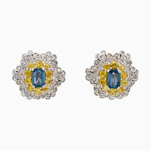 Diamonds, Yellow and Blue Sapphires and White Gold Clip-on Earrings, Set of 2