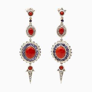 Boucles d'Oreilles Diamants, Tanzanite, Corail, Or Rose et Argent, Set de 2