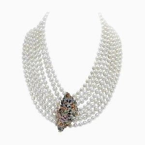 Multicolored Sapphire, Ruby, Emerald, Diamond, Pearl, Gold and Silver Necklace