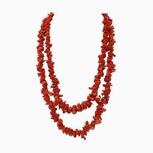 Italian Red Coral Multi-Strand Necklace
