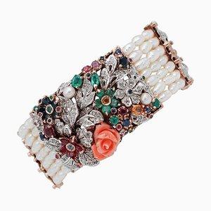 Bracciale con diamanti, smeraldi, rubini, zaffiri, coralli, perle, oro rosa 9kt e argento