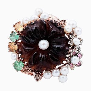 9 Karat Gold and Silver Ring with Diamonds, Emeralds, Sapphires, Black Agate & Pearls
