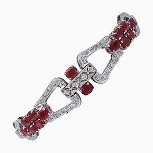 Bracelet en Or Blanc avec Rubis et Diamants